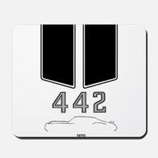 Olds 442 silhouette with logo and stripes Mousepad