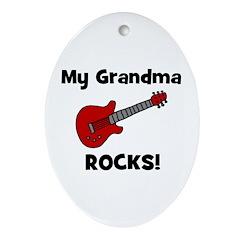 My Grandma Rocks! (guitar) Oval Ornament