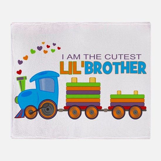 Cutest Lil Brother - Train Throw Blanket