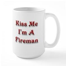 Kiss Me I'm A Fireman (Large Mug)