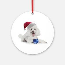 Santa Poodle Ornament (Round)