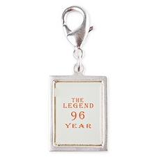 96 year birthday designs Silver Portrait Charm