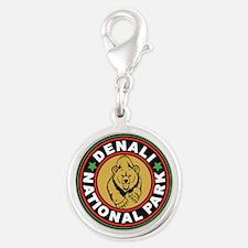 Denali Black Circle Silver Round Charm