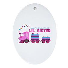 Cutest Lil Sister Train Ornament (Oval)