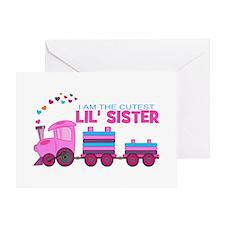 Cutest Lil Sister Train Greeting Card