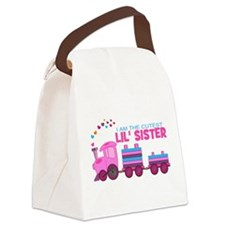 Cutest Lil Sister Train Canvas Lunch Bag