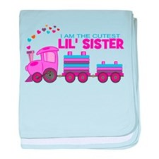 Cutest Lil Sister Train baby blanket