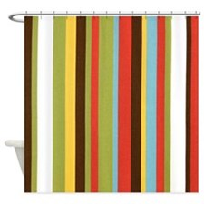 Bold retro colorful stripes Shower Curtain