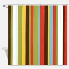 Bold retro colorful stripes Shower Curtain