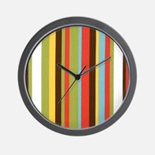 Bold retro colorful stripes Wall Clock