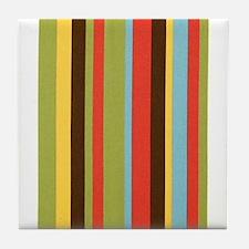 Bold retro colorful stripes Tile Coaster