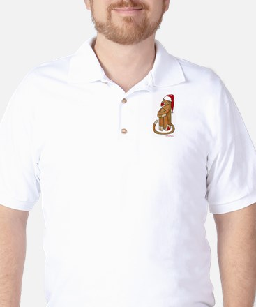 Santa Cap Sock Monkey Golf Shirt
