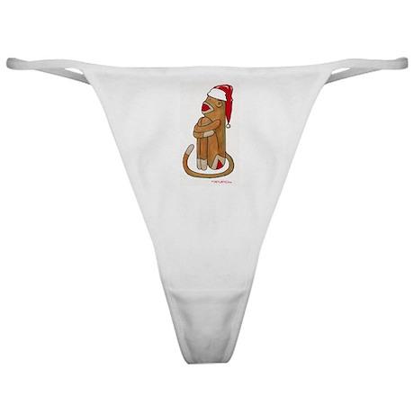Santa Cap Sock Monkey Classic Thong