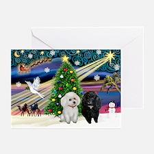 Xmas Magic-2 Poodles (ST) Greeting Cards (Pk of 1