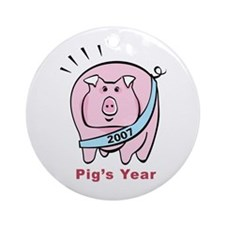 Pig's Year Ornament (Round)