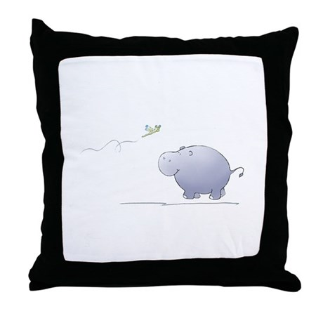 hippo and dragonfly Throw Pillow