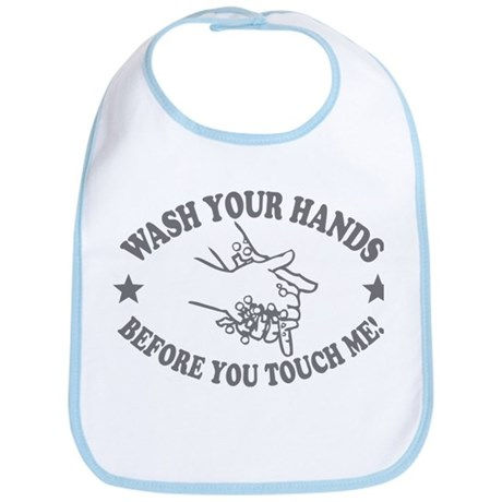 Wash Your Hand! Gray Bib