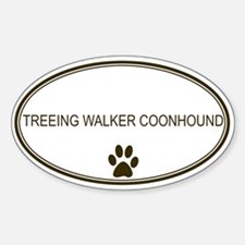 Oval Treeing Walker Coonhound Oval Decal