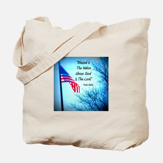 Bless Is The Nation Flag Tote Bag