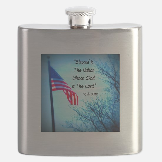 Bless Is The Nation Flag Flask