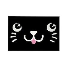 Black Kitty Face Rectangle Magnet (10 pack)