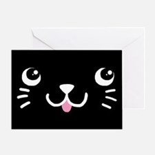 Black Kitty Face Greeting Card