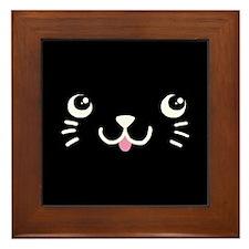 Black Kitty Face Framed Tile