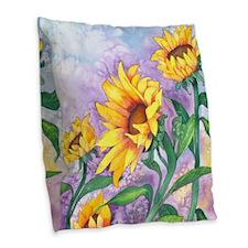 Sunny Sunflowers Watercolor Burlap Throw Pillow