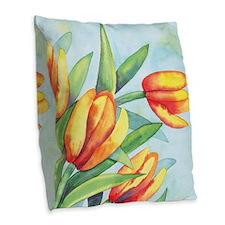 Tulips Watercolor Burlap Throw Pillow