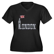 London Women's Plus Size V-Neck Dark T-Shirt