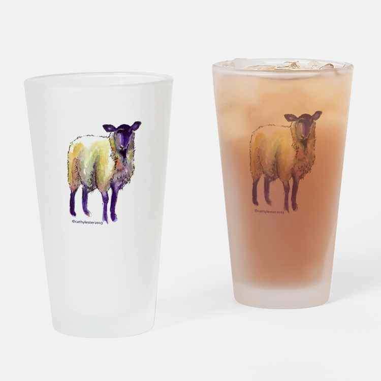 Black Face Sheep Drinking Glass