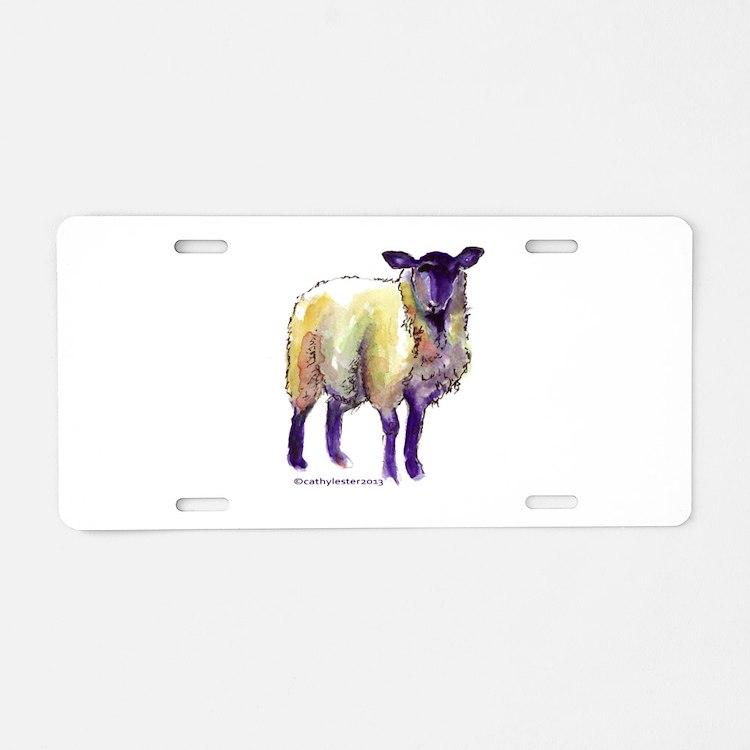Black Face Sheep Aluminum License Plate