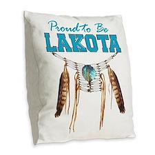 Proud to be Lakota Burlap Throw Pillow