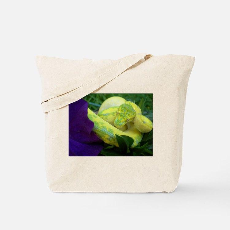 High Yellow Green Tree Python Tote Bag