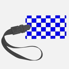 Blue and white checkerboard Luggage Tag