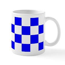 Blue and white checkerboard Mug