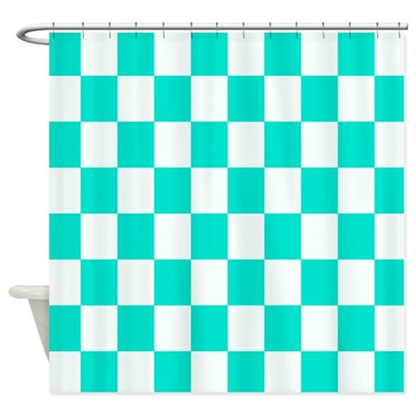 Teal And White Checkerboard Shower Curtain By