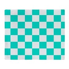 Teal and white checkerboard Throw Blanket