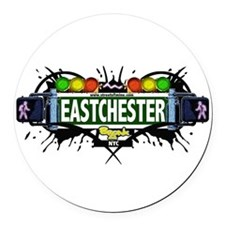 Eastchester Bronx NYC (White) Round Car Magnet