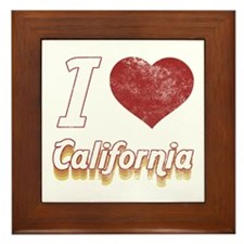 I Love California (Vintage) Framed Tile