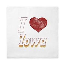 I Love Iowa (Vintage) Queen Duvet