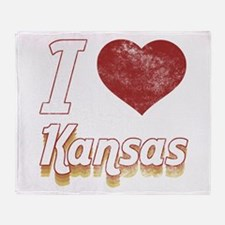I Love Kansas (Vintage) Throw Blanket
