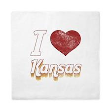 I Love Kansas (Vintage) Queen Duvet