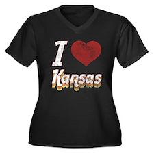 I Love Kansas (Vintage) Women's Plus Size V-Neck D