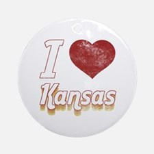 I Love Kansas (Vintage) Ornament (Round)