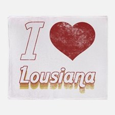 I Love Lousiana (Vintage) Throw Blanket