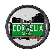 Cornelia street, BROOKLYN, NYC Large Wall Clock