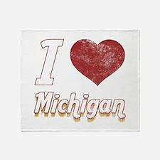 I Love Michigan (Vintage) Throw Blanket