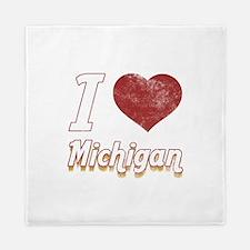 I Love Michigan (Vintage) Queen Duvet