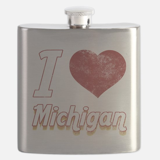 I Love Michigan (Vintage) Flask